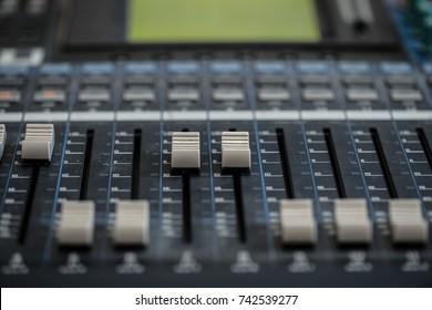 Analogic Sound Mixer. Professional audio mixing console radio and TV broadcasting