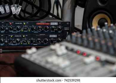 Analogic Sound Mixer. Professional audio mixing console radio and TV broadcasting
