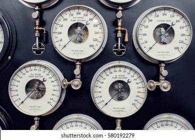 Analogue Gauge. Industrial Water Steam Measurement.
