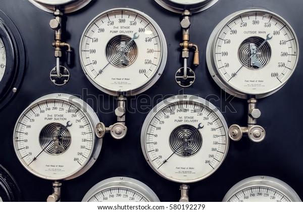Analogue Gauge. Industrial Water Steam Measurement.
