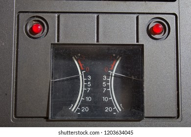 Analogue level indicator on a retro reel-to-reel recorder