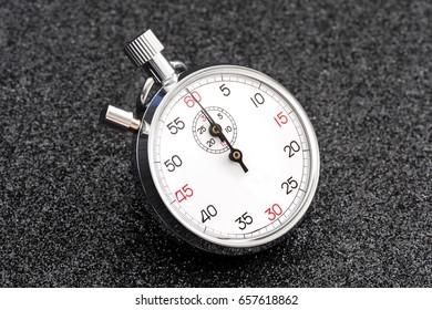 Analogue metal stopwatch.