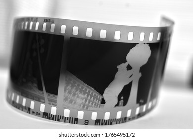 Analogue photographic film strip with a shot.