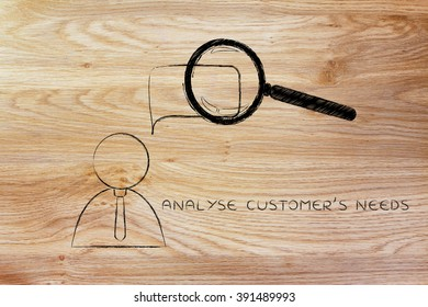 analyse customer's needs: business men whose thoughts or words are being analyzed by a magnifying glass