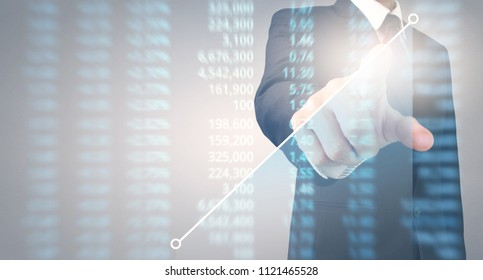 Analysing illustrated chart stock market financial data on a screen