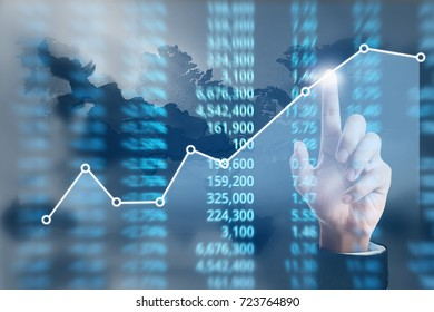 Analysing illustrated chart stock market financial data on screen