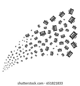 Analysis source stream. Raster illustration style is flat gray iconic symbols on a white background. Object stream fountain combined from scattered pictograms.