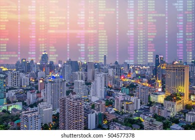 Analysis stock market news in the data, Stock investment concept. (With blur data monitor at background)