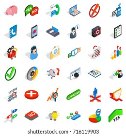 Analytics icons set. Isometric style of 36 analytics  icons for web isolated on white background