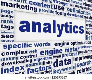 Analytics technical poster design. Data optimization creative message background