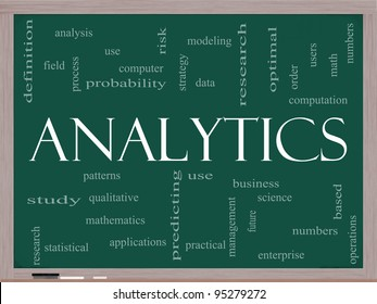 Analytics Word Cloud Concept on a Chalkboard with great terms such as data, strategy, modeling, research and more.