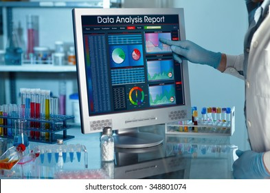 analyzing data scientist in the laboratory with a screen project development / researcher touching the screen of report research data