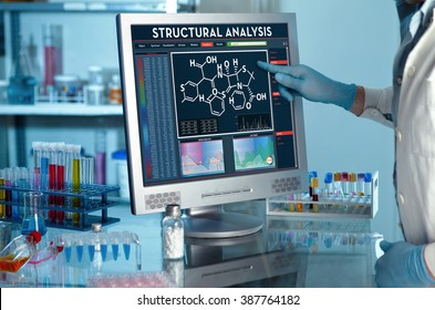 analyzing data scientist in the laboratory with a screen project development / researcher touching the screen of report of structural analysis