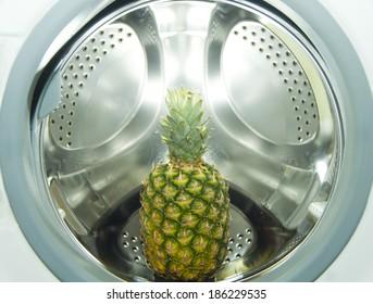 Ananas inside of a washing machine
