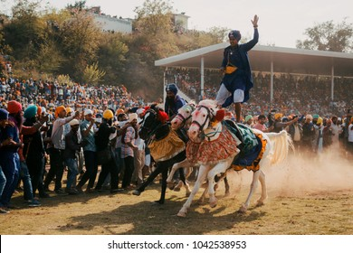 Anandpur Sahib, Punjab / India - March Friday 2018: This photo was taken at the annual fair of Hola Mohalla celebrations.