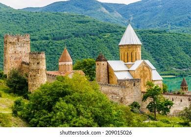 Ananuri Castle, a castle complex on the Aragvi River in Georgia