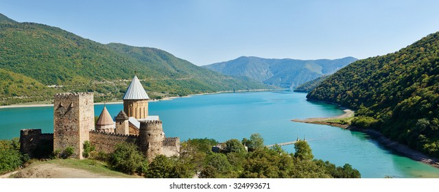 Ananuri church and castle complex panorama on the Aragvi River in Georgia