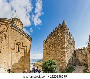 Ananuri, Georgia -  October 7, 2018. Ananuri castle сomplex on the Aragvi River in Georgia, about 72 kilometres from Tbilisi.