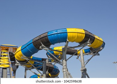 """ANAPA, RUSSIA - AUGUST 5, 2017: Water Park """"Golden beach"""". Water slides and attractions"""
