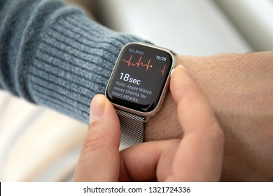 Anapa, Russia - February 17, 2019: Man hand with Apple Watch Series 4 with the ECG app on the screen. Apple Watch was created and developed by the Apple inc.