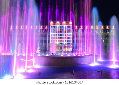 Anapa, Russia - July 17, 2020: View of the building of the administration of the city of the resort of Anapa through the nearby fountain