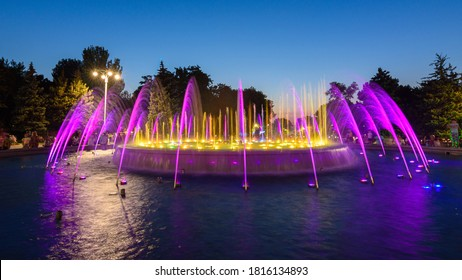 Anapa, Russia - July 17, 2020: Beautiful fountain after sunset close-up. The fountain is located near the building of the city administration of the Anapa resort