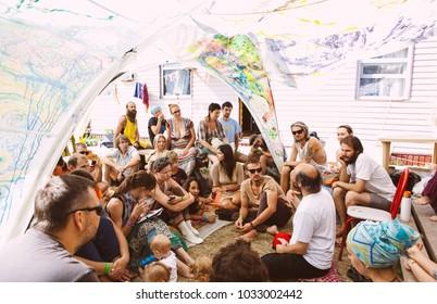 Anapa, Russia - June 7, 2015, festival of yoga, hippies and ethnics of Quammanga; practice of yoga and meditation