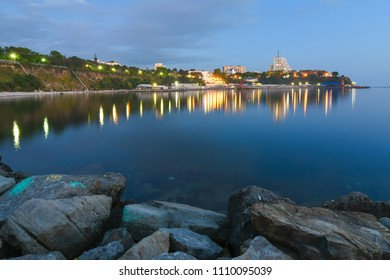Anapa, Russia - may 15, 2018: A panoramic view of the embankment of the Little Cove, Black Sea, Anapa, Russia