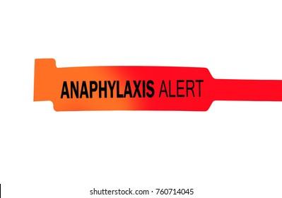 Anaphylaxis alert bracelet on white background
