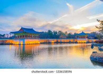 Anapji,Twilight sunset at Donggung Palace and Wolji Pond in gyeongju national park, South Korea.