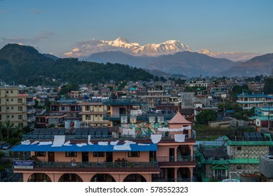 Anappurnas from Pokhara; Machapuchhre in clouds