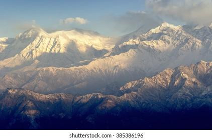 Anapurna's peak during sunrise in Nepal