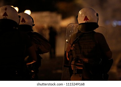 Anarchist group clashes with Riot police during a 24 hour general strike against the government's austerity politics in Athens, Greece, 15 July 2015