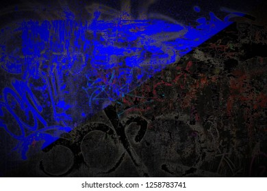 Anarcho Transhumanism flag painted on dirty street wall with graffiti texture background. National political symbol street art.