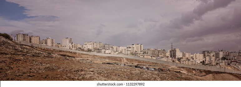 Anata, Palestine - December 24 2017: The west bank barrier, a separation barrier in the West Bank or along the Green Line.