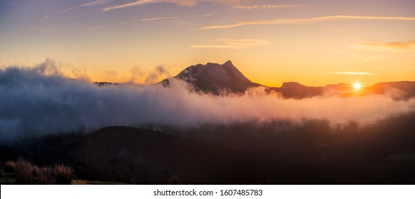 Anboto mountain with cloud sea at sunrise