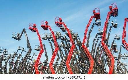 Ancenis, France, June 15, 2017. Group of aerial platforms for construction and material handling