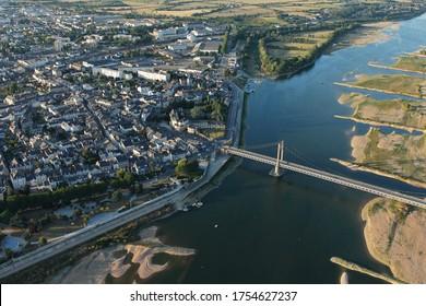 Viaduc d'Ancenis vu du ciel, dans le département de la Loire Atlantique (44), Pays-de-la-Loire, France
