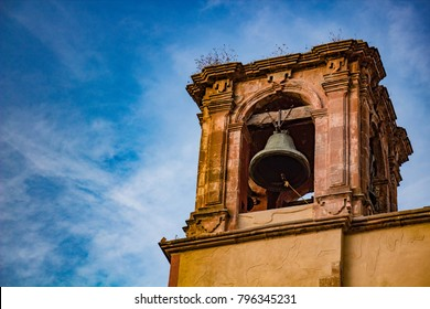 Ancestral bell tower and bell in old church
