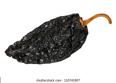 Ancho chili against a white background.