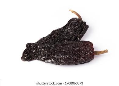 Ancho Grande Chilli cayenne dry Mexico hot pepper pod in white