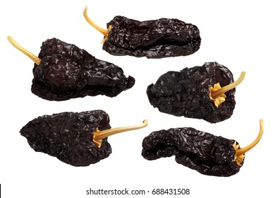 Ancho mulato - dark dried Poblano chile peppers, whole. Clipping path for each pod