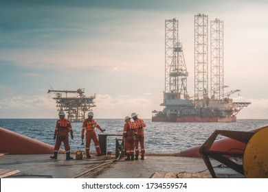 Anchor handling activity during rig move operation at oil field