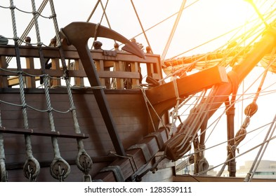 Anchor in old frigate boat in scenes sunset concept