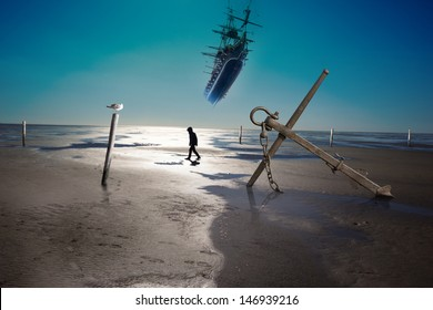 anchor on a coastline with low ebb, and water level poles and a silhouette of walking person, waiting for a flying ship to arrive