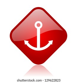 anchor red square glossy web icon