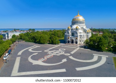 Anchor Square and St. Nicholas' Naval Cathedral on a sunny May day. Kronstadt, St. Petersburg (aerial photography)