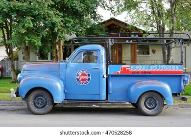 ANCHORAGE, AK -22 JUNE 2016- A vintage classic blue Studebaker pick-up truck is parked on a street in Alaska.