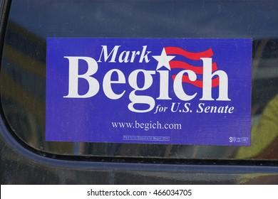 ANCHORAGE, AK -25 JUNE 2016- A Mark Begich for US Senate bumper sticker on a car in Alaska. A Democrat, Begich was defeated for the Senate in the 2014 campaign.