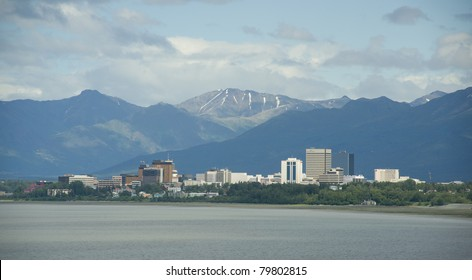 Anchorage Alaska From Earthquake Park Mountain Background Cook Inlet Gulf of Alaska